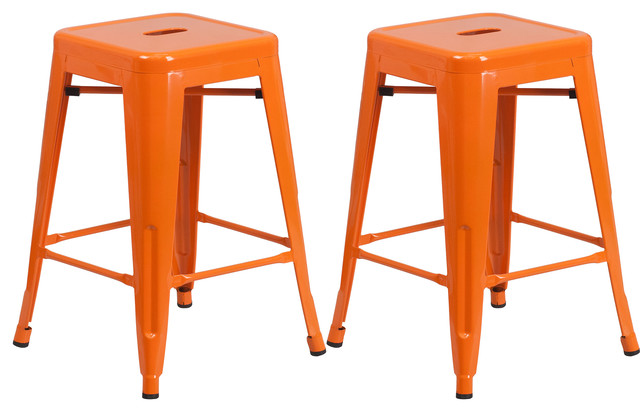 Vogue Metals Backless Metal Stools Set Of 2 Full