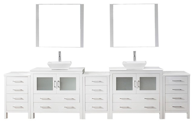 "Virtu Usa Dior 126"" Double Bathroom Vanity With Square Sink, White, White Stone."
