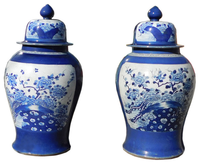 Chinese Blue White Porcelain Large Temple Jars 2 Piece Set