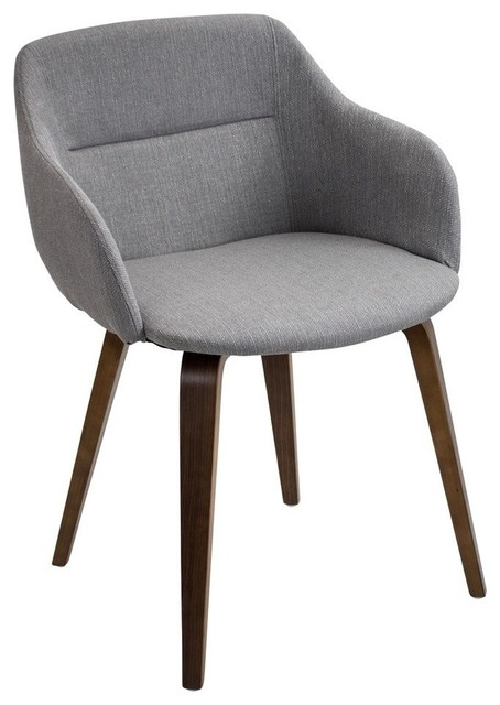 Campania Mid-Century Modern Dining/Accent Chair, Walnut and Gray by LumiSource
