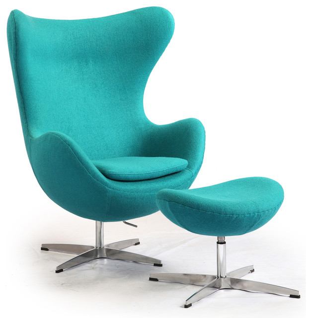 Awesome Cashmere Egg Chair And Ottoman, 2 Piece Set, Turquoise Boucle