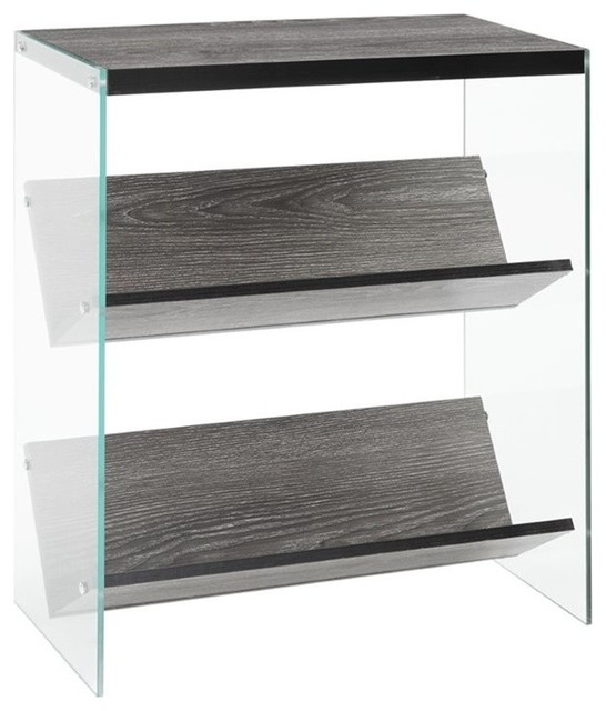 Pemberly Row 2-Shelf Bookcase, Weathered Gray