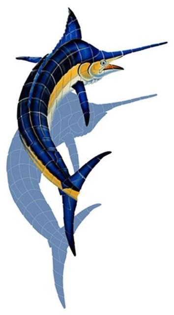"""Marlin, CC With Shadow, Pool Mosaic, 67""""x52"""""""