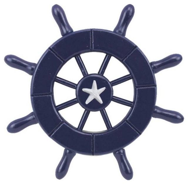 Dark Blue Decorative Ship Wheel With Starfish 6 Boat Steering Decor Beach