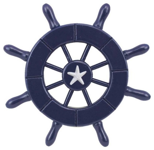 Dark Blue Decorative Ship Wheel With Starfish 6 Boat Steering Decor