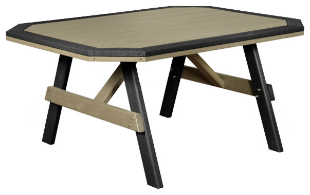 Outdoor Poly Lumber 6u0027 Garden Table With Border, Weathered Wood And Black