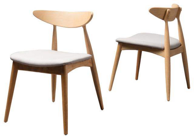 Gdf Studio Issaic Design Wood Dining Chairs Light Grayoak Set Of 2