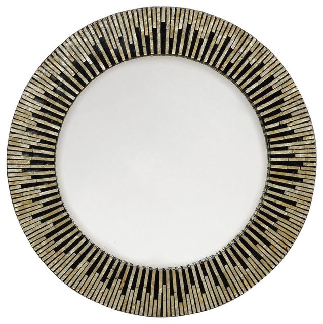 Ordinary 34 Inch Round Mirror Part - 10: Bernadine Global Bazaar Black Round Inlaid Capiz Mirror Eclectic-mirrors