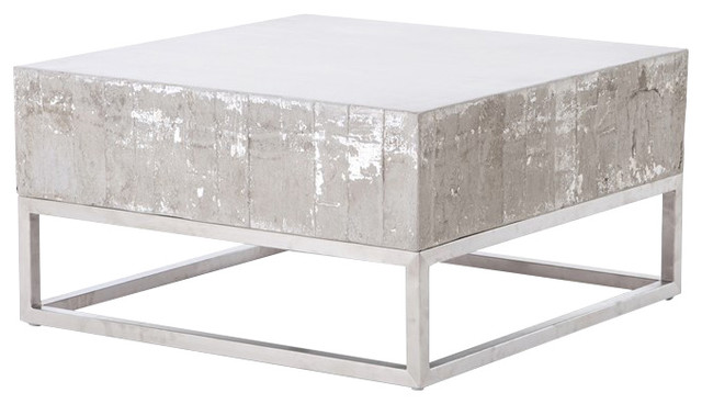 Transitional Coffee Tables concrete and chrome coffee table - transitional - coffee tables
