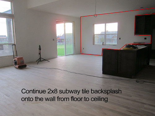 subway tile floor to ceiling in kitchen area - what do you think?