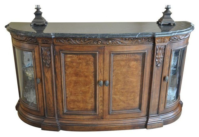 Henredon Buffet with Marble Top & Glass Doors - Traditional - Buffets And Sideboards - by Chairish