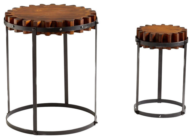 Cyan Design 24 Round Gear Accent Tables Set Of 2 Industrial Coffee Table Sets By