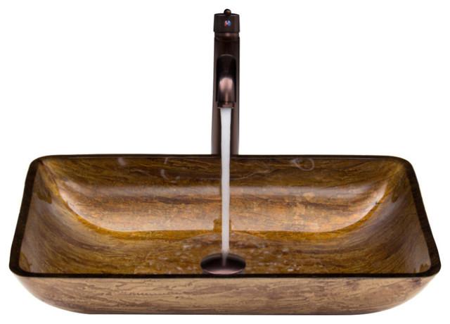 Vigo Rectangular Russet Glass Vessel Sink And Faucet Set, Amber.