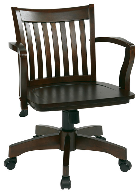 Deluxe Wood Banker&x27;s Chair With Wood Seat In Espresso Wood Finish.