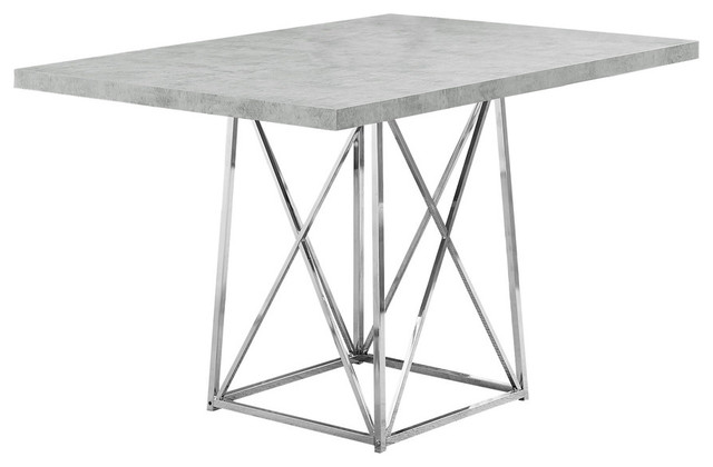 dining table with chrome metal base faux cement