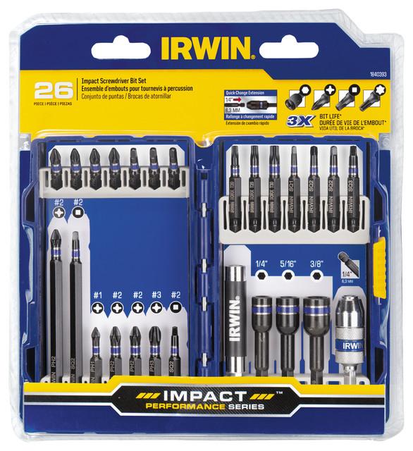 Irwin 1840393 Steel Impact Screwdriver Bit Set 26 Count.