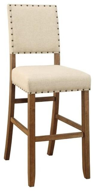 "Furniture of America Sania Bar Stools, Natural, Set of 2, 30.25"""