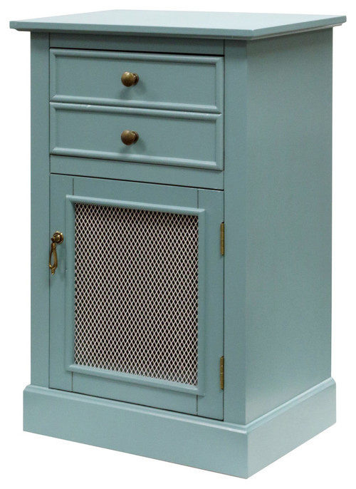 Two Drawer, Single Mesh Door Wood Cabinet, Blue