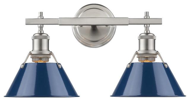Orwell 2-Light Bath Vanity, Pewter Navy Blue Shade