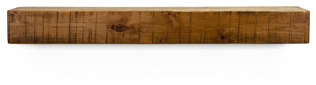 Rustic Wood Fireplace Mantel, Farmhouse Floating Shelf, Aged Oak, 72.