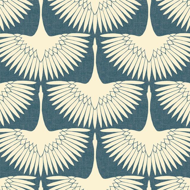 Genevieve Gorder Feather Flock Denim Blue Peel and Stick Wallpaper, Sample