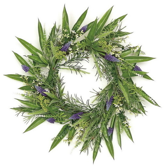 Faux Grape Hyacinth And Fennel Seed Wreath, 24.