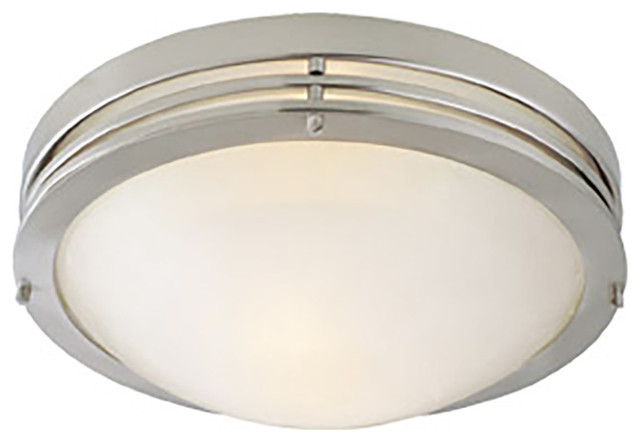 Caspian 2-Light Satin Nickel And Alabaster Ceiling Light.