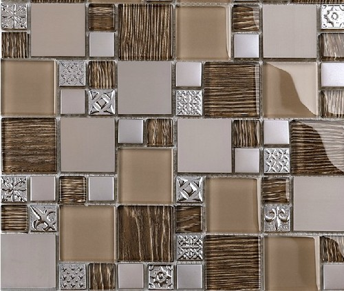 Kitchen tile samples modern cobble pattern stainless steel for Bathroom decor and tiles midland