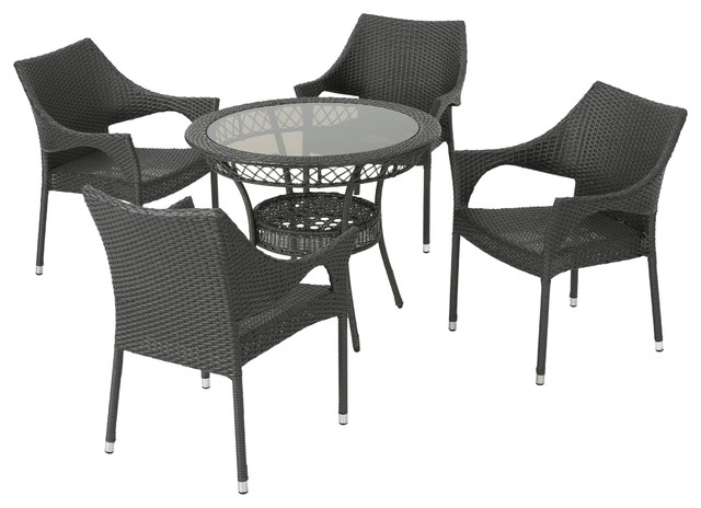 Mage Outdoor 5 Piece Gray Wicker Dining Set With Tempered Glass Table Top.