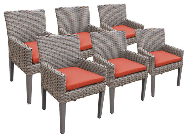 Harmony Dining Chairs With Arms, Tangerine, Set Of 6.