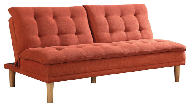 Woven Fabric Sofa Bed Futon With Tufted Pillow Top Split Back Orange Midcentury Futons