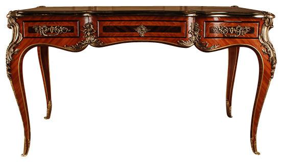 Majestic louis xv ormolu mounted rosewood bureau plat victorian