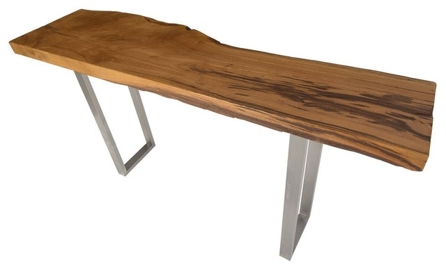 63 Console Table Solid Burl Wood Top Stainless Steel Base Live Edge Modern