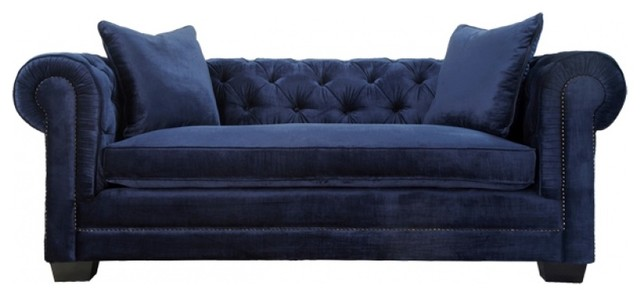 Norwalk velvet tufted chesterfield sofa navy for Navy blue tufted sectional sofa
