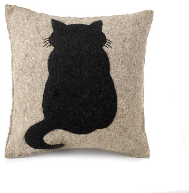 Cat Cushion Cover, Hand Felted Wool.