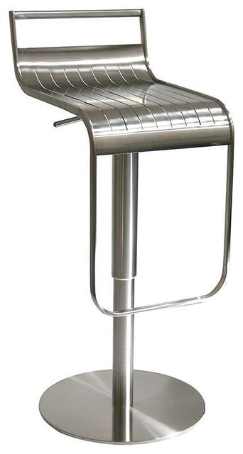 Celestial Adjustable Breakfast Bar Stool, Brushed Steel, 36x40x83 cm