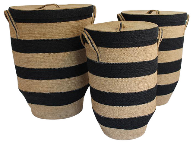 3-Piece Round Hamper With Tapered Bottom, Black/natural Jute.
