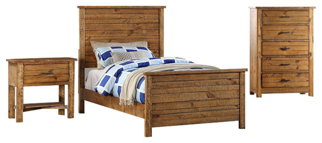 Madison 3-Piece Bed, Nightstand And Chest Set, Natural, Twin.
