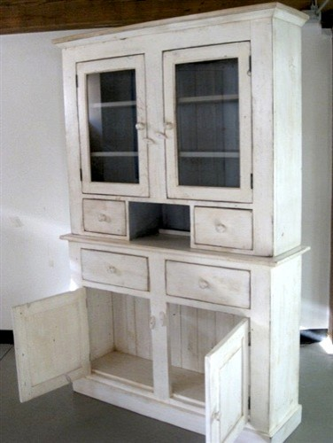 White Custom Country Hutch With 2 Glass Doors - Farmhouse - China Cabinets And Hutches - Boston ...