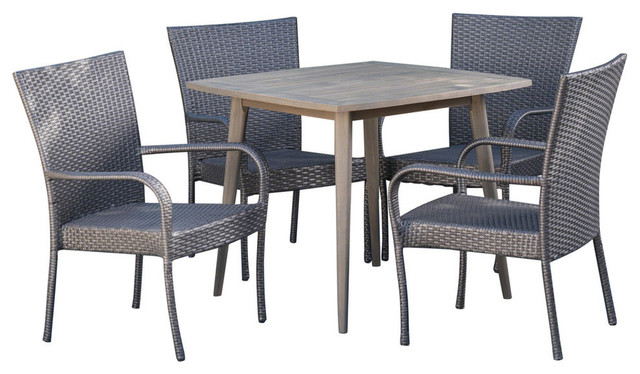 Gdf Studio 5 Piece Murphy Outdoor Wood And Wicker Dining Set Gray And Gray