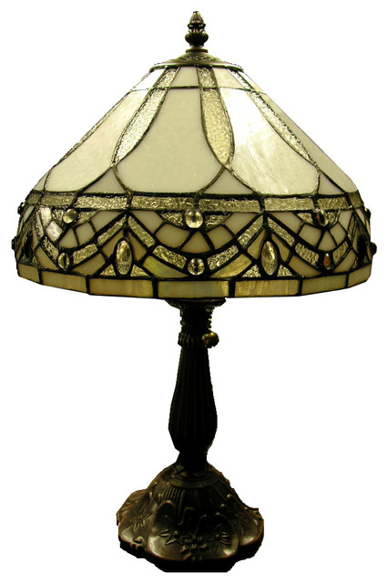 Tiffany-Style White Jewels Table Lamp.