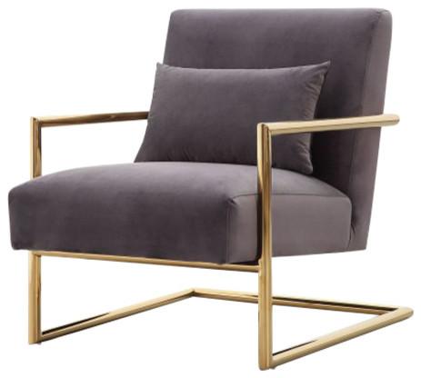 Monroe Velvet Chair, Gray.