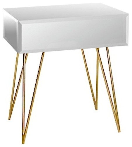 Delightful Worlds Away Debra Mirrored Nightstand With Gold Hairpin Legs Midcentury Side  Tables And