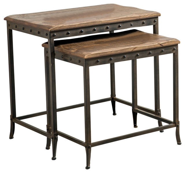 2-Piece Nestingtable Set, Distressed Pine With Metal Base.