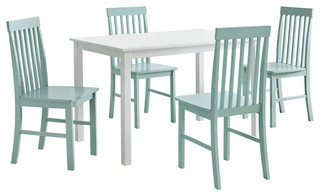Grayson 5 Piece Dining Set White And Sage Beach Style