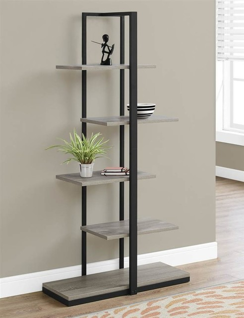 "Bookcase, 60"", Dark Taupe/black Metal."