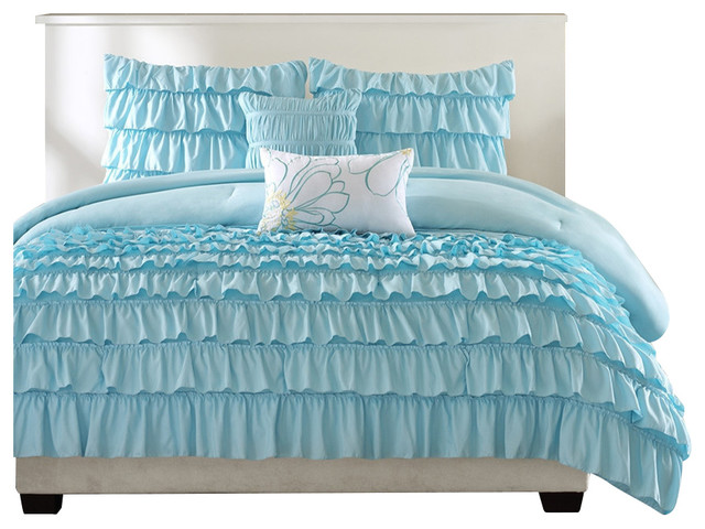 fastfurnishings light blue full queen 5 piece comforter. Black Bedroom Furniture Sets. Home Design Ideas