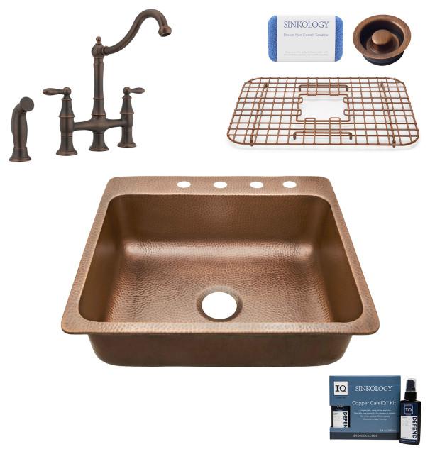 "Rosa 25"" Drop-in Copper Kitchen Sink, Bridge Faucet and Disposal Drain"