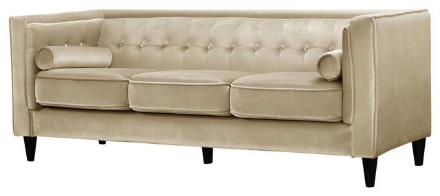 Reynolds Velvet Sofa Beige