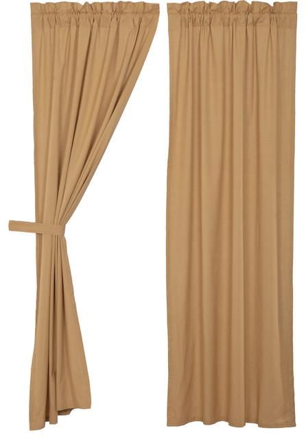 Farmhouse Curtains Simplicity Flax Panel Pair Rod Pocket Cotton Linen Blend Flax
